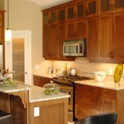 kitchen cabinets and microwave