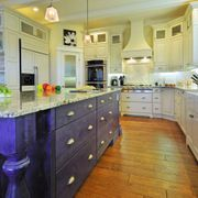 purple and white kitchen drawers