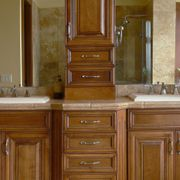 wooden cabinets in washroom